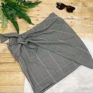 Who What Wear • Asymmetrical Gray Plaid Mini Skirt